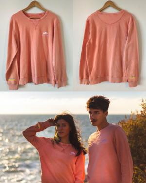 Sweat-shirt-orange-unisexe-nuage-parapluie-beau-temps